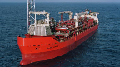Curlew floating production vessel operated by Shell at Fulmar Gas Line in North Sea.