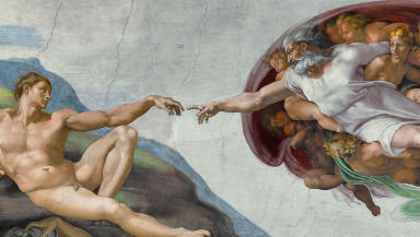 Michelangelo Creation of Adam cropped and sized for news quality image  public domain image