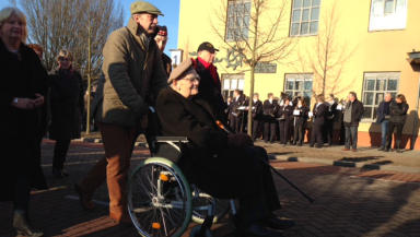 Black Watch veteran Tom Renouf (seated) visits Dutch town of Gennep, which he liberated in WWII. February 7, 2015.