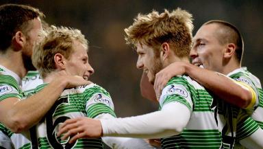 Stuart Armstrong (right) celebrates scoring Celtic's second with first goalscorer and fellow debutant Gary Mackay-Steven.