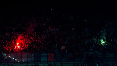 Celtic fans set off flares at their Europa League match at Inter Milan.