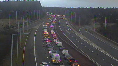 Traffic chaos on the M8 at junction 3A at Blackburn and Bathgate, West Lothian. Pic from Traffic Scotland.
