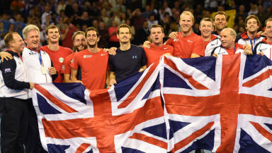 Arrival: Great Britain's Davis Cup squad have reached Belgium ahead of this week's final.