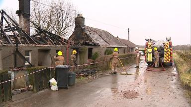Fire at two cottages at Denhead in Fife near St Andrews. Pic from Louise Cowie. Uploaded on March 9 2015.
