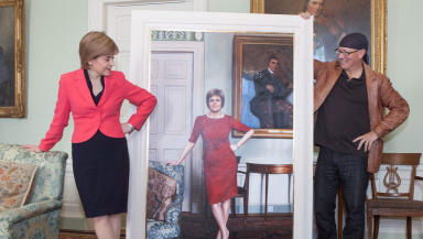 First Minister Nicola Sturgeon new portrait and artist Gerard M Burns at Bute House Edinburgh March 10 2015 quality news image