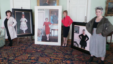 First Minister Nicola Sturgeon with Elaine C Smith and Denise Mina with new portraits March 10 2015