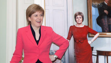 First Minister Nicola Sturgeon with new portrait by artist Gerard M Burns at Bute House Edinburgh March 10 2015 quality news image