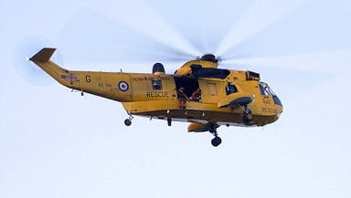 RAF Rescue: Helicopter airlifted man from North Sea installation.