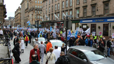 Anti trident nuclear protest George Square Glasgow April 4, 2015 crowd 2
