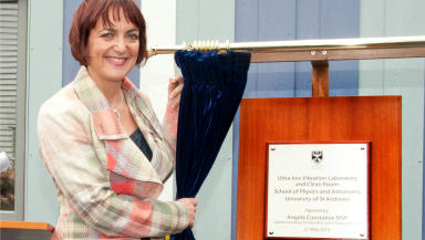 Education secretary Angela Constance opens £3.7m ULV physics facility at St Andrews University. Pic from St Andrews Uni. Uploaded on May 21 2015.