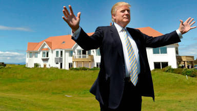 Trump: The US President at the opening of the Ayrshire resort.