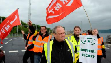RMT staff picket at CalMac in Gourock, on strike June 26 2015 quality news image uploaded3 June 26 2015