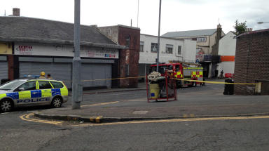 Fire crews were called after the fire broke out at MobiTyree in Kilmarnock shortly after 1am on Tuesday, June 30 2015. Photo from viewer, free to use.