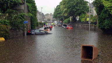Polmuir road in Aberdeen during flooding on July 7 2015. Free photo from viewer