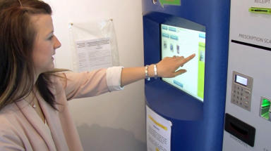 "A ""robotic pharmacy"" which could change the way Scots living in rural communities get access to medicine is being trialled. The £150,000 pharmacy is being tested in the village of Inverallochy in Aberdeenshire, as part of a research project led by the University of Aberdeen. Uploaded July 13 2015, free to use"
