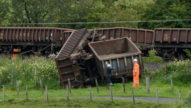 Freight train derailment near Cumnock in Ayrshire quality news image uploaded August 3 2015