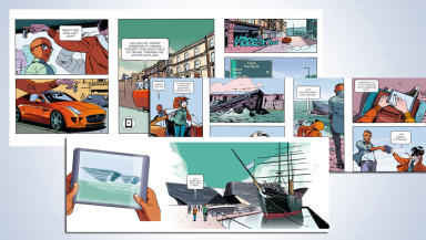 Dundee V&A comic strip mural PR image by artist Will Morris  issued by V&A quality news image uploaded August 5 2015