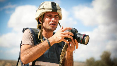 Hamde Abu Rahma, Palestinian photojournalist denied UK entry visa. August 15 2015.