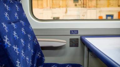 Power socket on new ScotRail train. Uploaded September 1 2015