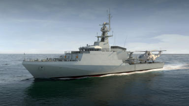 HMS Trent is the third of three River Class Batch 2 Offshore Patrol Vessel (OPV) designed and constructed by BAE Systems. Artist's impression news image uploaded with permission Wednesday October 7 2015