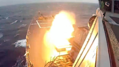 Missile test launch from USS Ross off South Uist image from US Navy video footage public domain uploaded October 23 2015