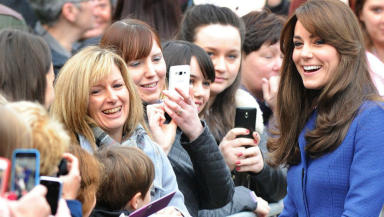 Kate Middleton Duchess of Cambridge meets fans in Dundee. Pic from Owen Humphreys/PA Wire/Press Association Images