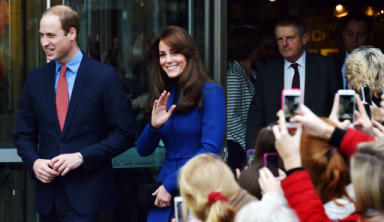 Duke and Duchess of Cambridge William and Kate meet with fans at the Dundee Rep. Pic from PA.