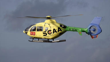 Scotland's Charity Air Ambulance new helicopter at Perth base. Free to use quality news image from Perth Picture Agency. Uploaded on October 30 2015.