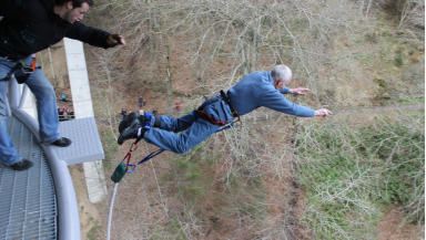 Oldest Jumper: John Macdonald celebrated his 80th birthday with a bungee jump.