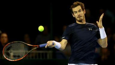 Andy Murray in action at Glasgow's Emirates Arena