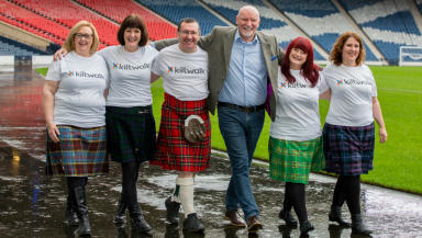The Kiltwalk 2016 launch at Hampden with Marion Robinson, Moira Burke, Christopher Quinn, Sir Tom Hunter, Izzy Conway and Lesley Sharp quality free to use image from Big Partnership Martin Shields uploaded Tuesday November 17 2015