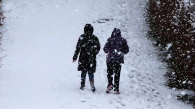 Ice and snow: Most likely to fall inland over hills.