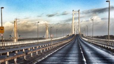 Empty roads: Forth Road Bridge closed to all vehicles.