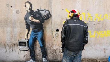 The portrait of Steve Jobs in the Calais Jungle.