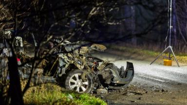 Crash: The car collided with a tractor.