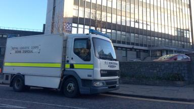 Bomb squad: Called to Aberdeen headquarters.