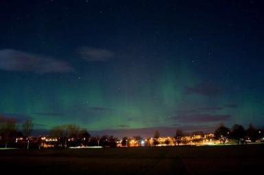 Aurora: The view from Cooper Park, Elgin.