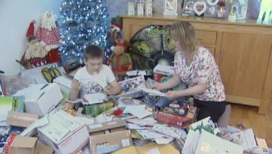 Shetland schoolboy Aron Anderson inundated with Christmas cards after online plea from Reddit user. Pic from broadcast still. Uploaded on Dec 22 2015.
