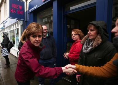 Sturgeon: First Minister visits those affected by floods in Newton Stewart.
