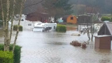 Flooded: Caravan park residents in Maryculter were forced to leave.