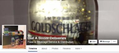 Facebook: An alcohol delivery service advertising on social media.