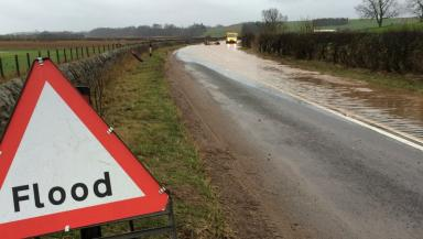 Road closed: The A91 at Guardbridge was closed on Wednesday.