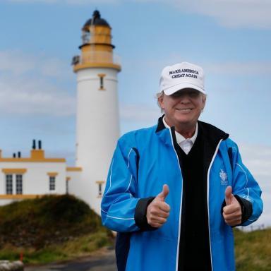 Donald Trump during his last visit to Scotland.
