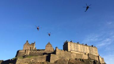Edinburgh Castle: HMS Gannet Sea Kings over Edinburgh.