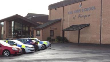 Police: Glasgow High School was among five schools targeted in bomb hoax calls.
