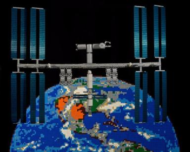 Flying high: This Lego model shows the International Space Station in orbit.
