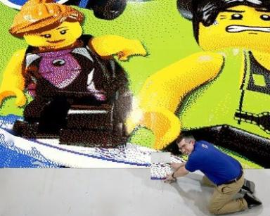 World record: This Lego collage took about 2000 people to build a square each.