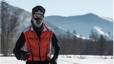 Endurance: Dr Andrew Murray during the Genghis Khan Ice Marathon.