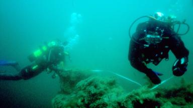Scapa Flow: Divers exploring newly-discovered wrecks.