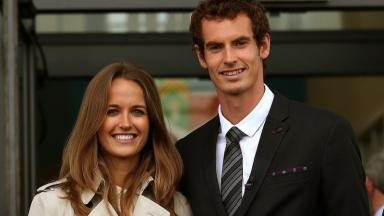 Happy couple: Andy Murray and wife Kim.